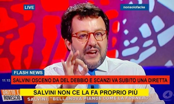 """Scanzi """"Live"""" – speciale sul disastroso Salvini da Del Debbio"""